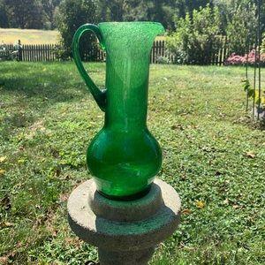 Vintage green crackle glass pitcher/vase